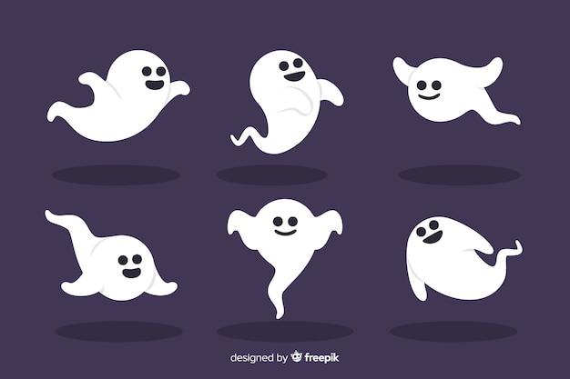 Colección plana de fantasmas de halloween