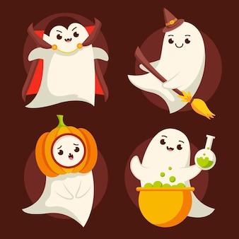Colección plana fantasmas de halloween