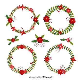 Colección plana de flores y guirnaldas navideñas