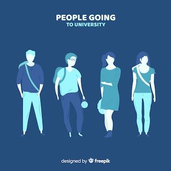 Colección plana gente yendo a la universidad
