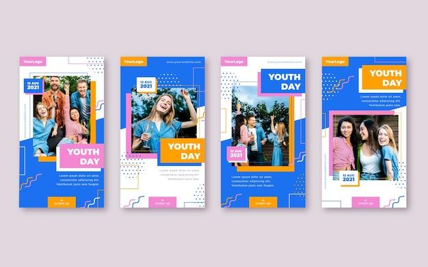 Colección plana de historias del día internacional de la juventud con foto