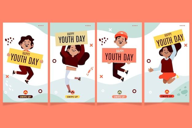 Colección plana de historias del día internacional de la juventud