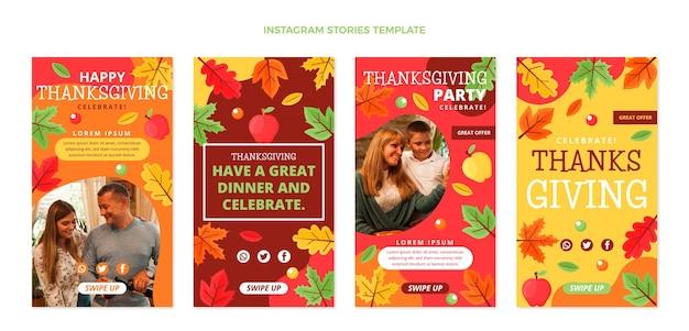 Colección plana de historias de instagram de acción de gracias