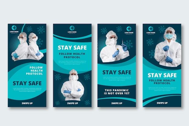 Colección plana de historias de instagram de coronavirus