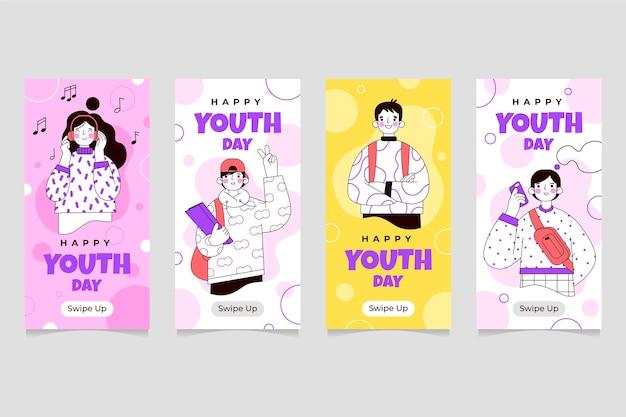 Colección plana de historias de instagram del día internacional de la juventud