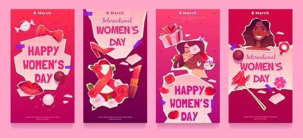 Colección plana de historias de instagram del día internacional de la mujer