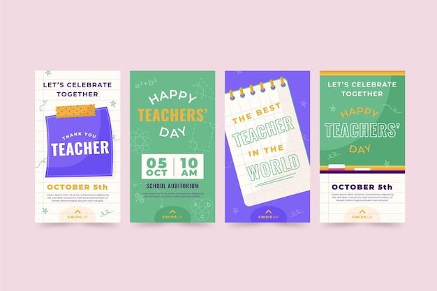 Colección plana de historias de instagram del día del maestro