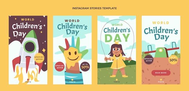 Colección plana de historias de instagram del día mundial del niño.