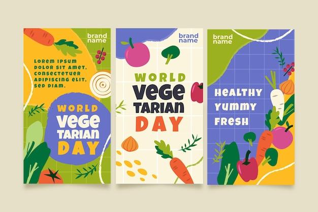 Colección plana de historias de instagram del día mundial del vegetariano