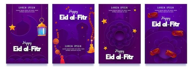 Colección plana de historias de instagram de eid al-fitr