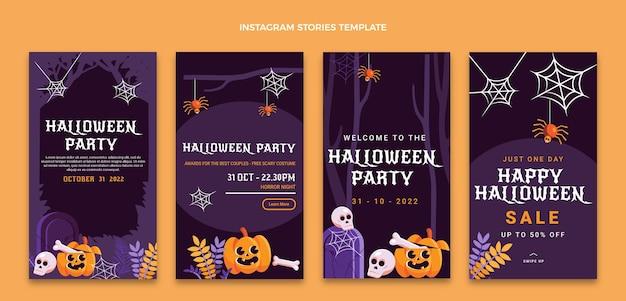 Colección plana de historias de instagram de halloween