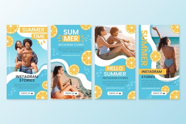 Colección plana de historias de instagram de verano con foto