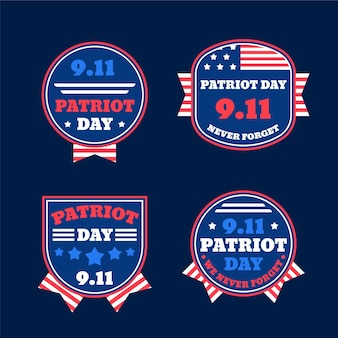 Colección plana de insignias del día del patriota 9.11