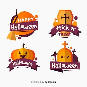 Colección plana de insignias de halloween