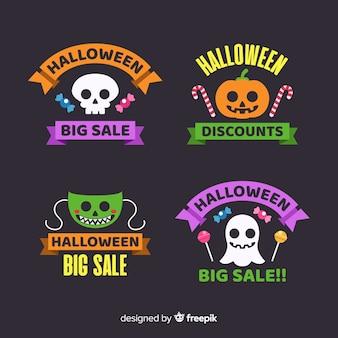 Colección plana de insignias de venta de halloween