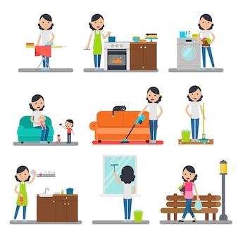 Colección plana de limpieza del hogar