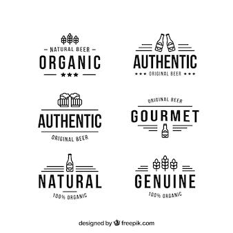 Colección plana de logos de cerveza