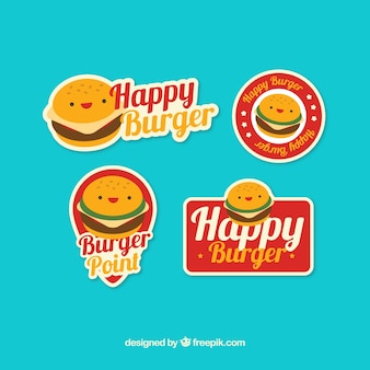 Colección plana de logos con personajes de hamburguesas