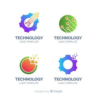 Colección plana logos tecnología