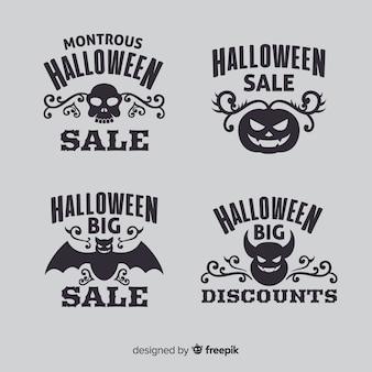 Colección plana de logotipos de venta de halloween