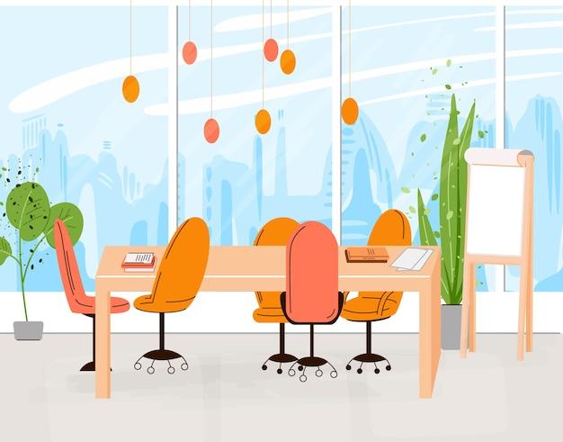 Colección plana de lugar de trabajo creativo con espacio abierto moderno e interior de oficina vacía - illustraton de co-trabajo empresarial y contemporáneo. composición horizontal plana.