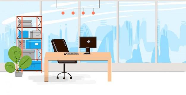 Colección plana de lugar de trabajo creativo con espacio abierto moderno y el interior de la oficina vacía - business and contemporary co-working illustraton. composición horizontal plana