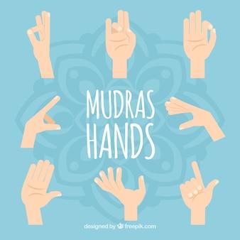 Colección plana de manos de mudras