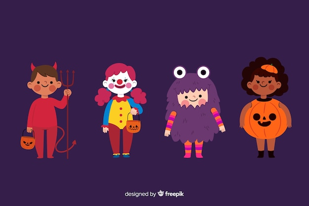 Colección plana de niños de halloween sobre fondo morado