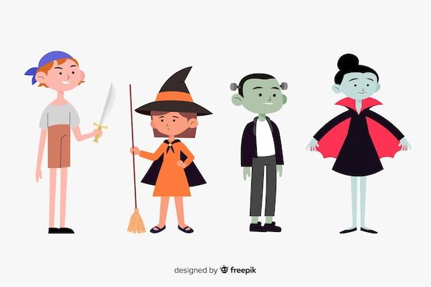 Colección plana de niños de halloween