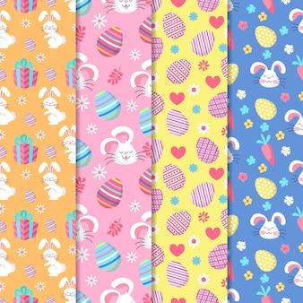 Colección plana de patrones del día de pascua