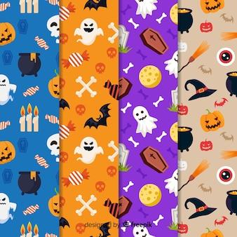 Colección plana de patrones de elementos de halloween