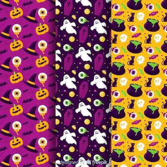 Colección plana de patrones de halloween de calabaza y fantasma