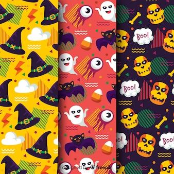Colección plana de patrones de halloween en colores reggae