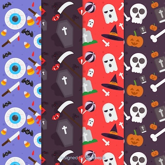 Colección plana de patrones de halloween con elementos de cementerio