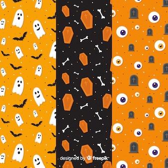 Colección plana de patrones de halloween en tonos naranjas