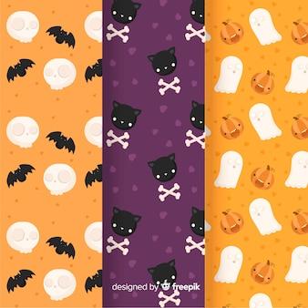 Colección plana de patrones de halloween