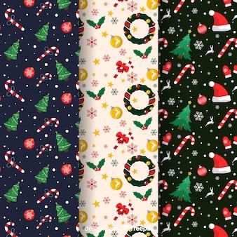 Colección plana de patrones de navidad con corona y árboles