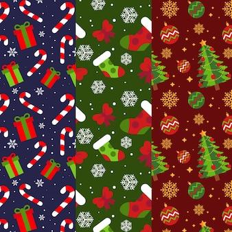 Colección plana de patrones de navidad