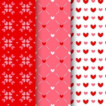 Colección plana de patrones de san valentín