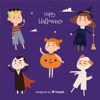 Colección plana de personajes adultos jóvenes de halloween