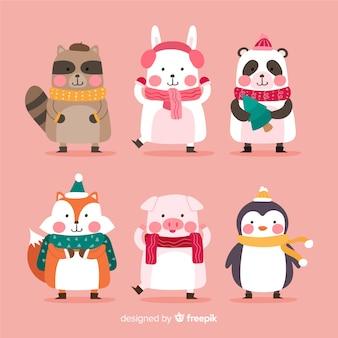 Colección plana de personajes de animales de navidad