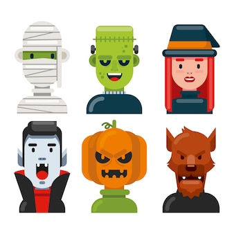 Colección plana de personajes de halloween