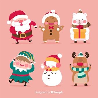 Colección plana de personajes de navidad