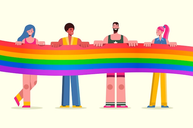Colección plana de personas del día del orgullo