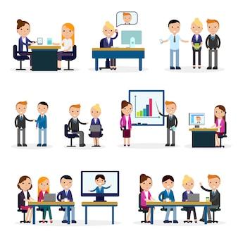 Colección plana de personas de negocios