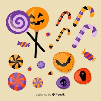 Colección plana de piruletas de halloween
