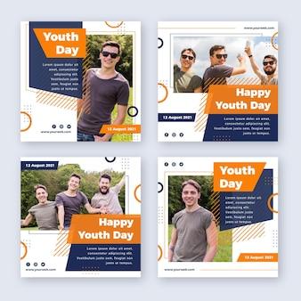 Colección plana de publicaciones del día internacional de la juventud con foto vector gratuito