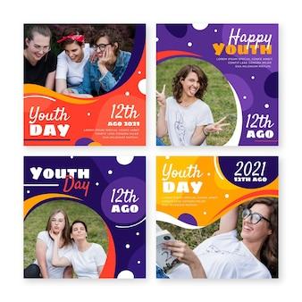Colección plana de publicaciones del día internacional de la juventud con foto