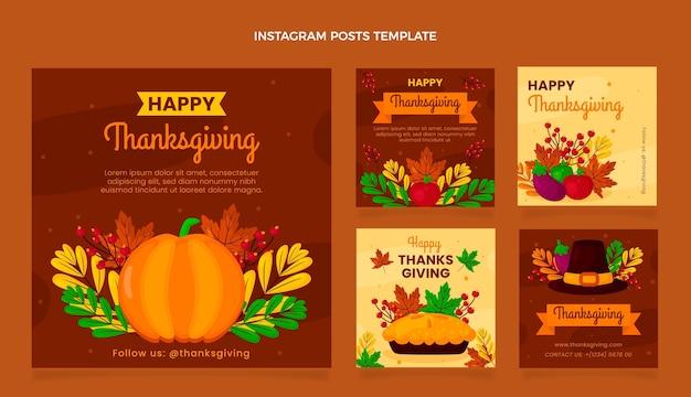 Colección plana de publicaciones de instagram de acción de gracias