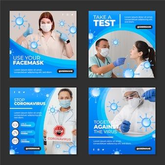 Colección plana de publicaciones de instagram de coronavirus